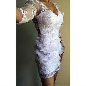 One of Kind White Lace Mini Dress
